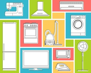 Home appliances in flat contour style on color background