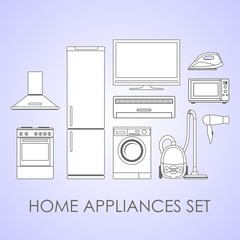 Home appliances in flat contour style on light background