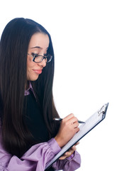 Pretty business lady with diary log