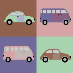 Cars background in old style