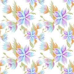 Seamless flowers pattern on striped