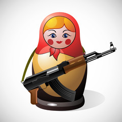 Russian nesting doll with automatic weapons