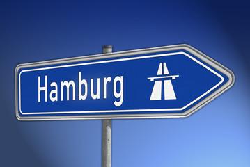 Autobahnwegweiser Hamburg