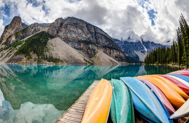 Row of Kayaks on Moraine Lake in the Canadian Rockies