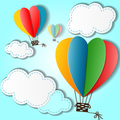 Cartoon background with heart shaped balloons and clouds