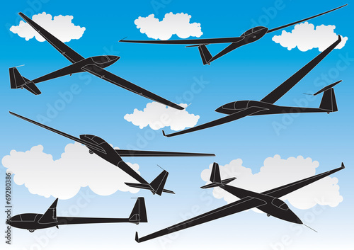 vector gliders outlines set - 69280386