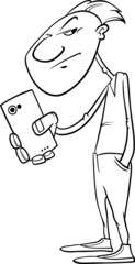 shooting with smartphone coloring page