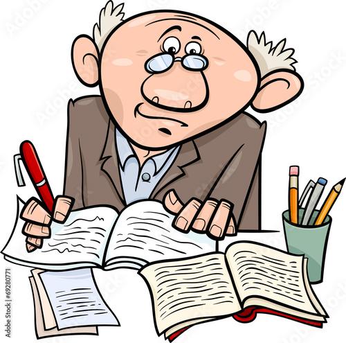 professor or writer cartoon illustration - 69280771