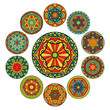 Set Of Round Ethnic Patterns