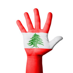 Open hand raised, Lebanon flag painted