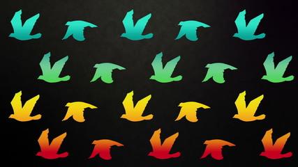 Colourful birds flying on grunge background.