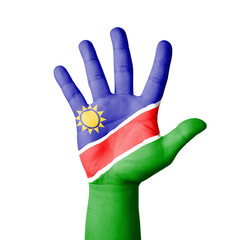 Open hand raised, Namibia flag painted