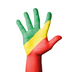 Open hand raised, Republic of Congo flag painted
