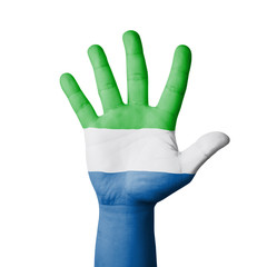 Open hand raised, Sierra Leone flag painted