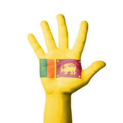 Open hand raised, Sri Lanka flag painted