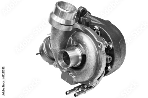turbocharger from the car on a white background - 69281583