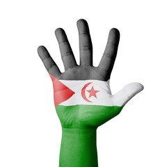 Open hand raised, Western Sahara flag painted