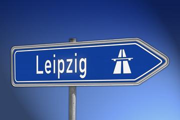 Autobahnwegweiser Leipzig