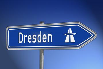 Autobahnwegweiser Dresden