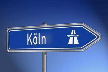 Autobahnwegweiser Köln