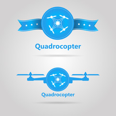 Two blue signs of quadrocopter top view