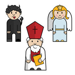 Saint Nicholas, angel and devil colored