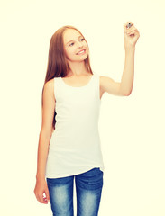 girl in blank white shirt drawing something