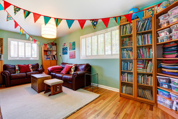 Room with bookcase decorated with colorful flags
