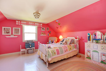 Beautiful girls room in bright pink color