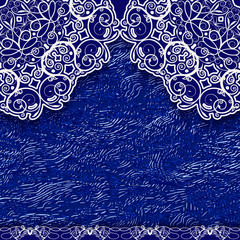 Blue lace background in ethnic style.