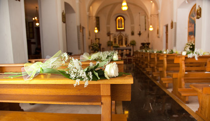 White roses in a church