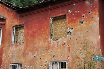 Residential building in a war zone in the Donetsk region, Ukrain