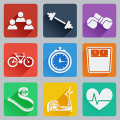 Set of colored square icons on fitness. Fashionable flat design