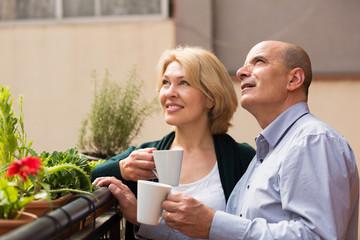 Aged couple drink tea on balcony
