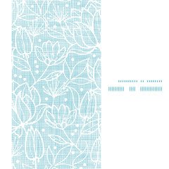 Blue lace flowers textile vertical frame seamless pattern
