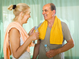 Pensioners with water after fitness