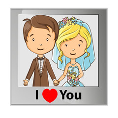 Cartoon groom and bride photo card