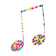 Dotted colorful music note