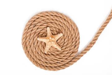 starfish and ship ropes isolated on white background