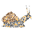 Dotted colorful snail silhouette
