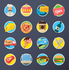 Food Delivery Flat Icon Set
