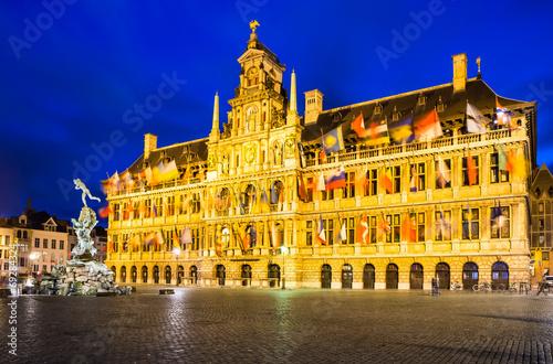Aluminium Antwerpen Antwerp, Grote Markt and town hall, Belgium