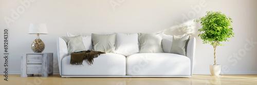 canvas print picture Panorama von Zimmer mit Sofa