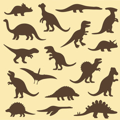 vector set silhouettes of dinosaur,animal illustration