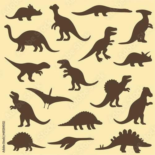 vector set silhouettes of dinosaur,animal illustration - 69284502