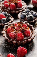 Chocolate tart with fresh raspberries