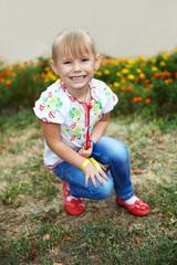 The little girl smiling