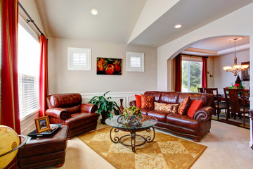 Luxury house interior. Living room with leather couches