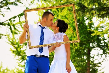Wedding couple in the frame