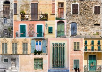 Collage aus historischen Fassaden in Italien (Türen und Fenster)